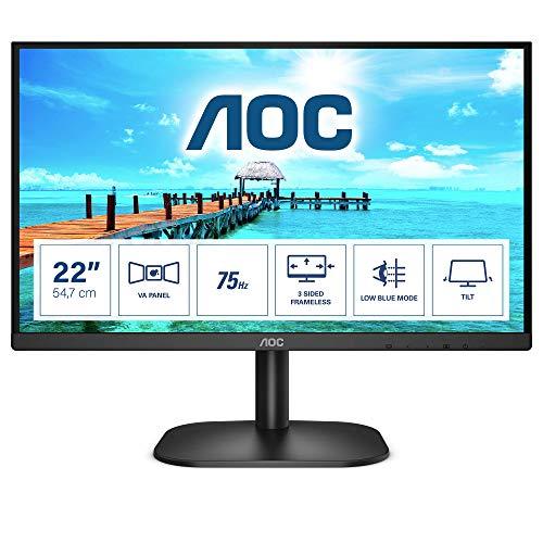 """AOC 22B2H Monitor Italia LED da 21.5"""" VA Panel, FHD, 1920x1080, 75Kz, VGA, HDMI, Nero"""