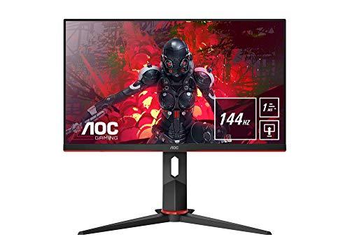 "AOC 24G2U/BK Monitor da Gaming Flat 23.8"" IPS, Frameless, FHD 1920 x 1080 a 144 Hz, Tempo di Risposta 1 msec/MPRT, 2 x HDMI, 1 DP, 4 x USB, Speaker, Regolabile in Altezza, FreeSync, Nero/Rosso"