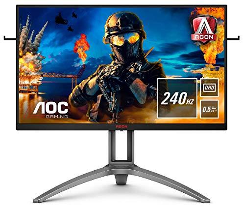 AOC AGON AG273QZ - Monitor da gaming QHD da 27 pollici, 240 Hz, 0,5 ms, HDR400, FreeSync Premium Pro (2560 x 1440, HDMI, DisplayPort, Hub USB), nero