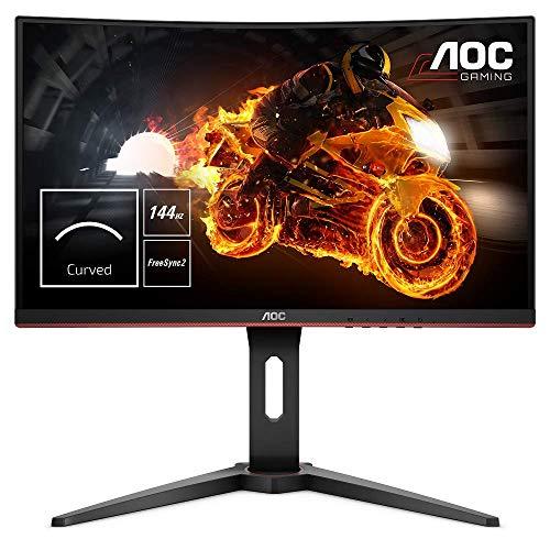 """AOC C24G1 Monitor Gaming Curvo da 24"""", Pannello VA, FHD 1920 x 1080 a 144 Hz, 1 Porta D-SUB, 2 Porte HDMI, 1 Porta Display, Tempo di Risposta 1 msec, Nero"""