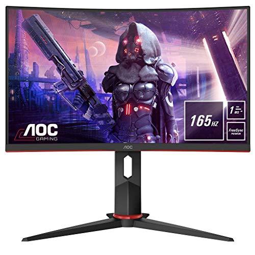AOC Gaming C24G2U 59,9 cm (23,6 pollici) Monitor Curved (HDMI, DisplayPort, Hub USB, tempo di risposta 1 ms, 165 Hz, 1920 x 1080 Pixel, FreeSync Premium) nero rosso