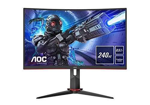 AOC Gaming C27G2ZE - Monitor curvo FHD da 27 pollici, 240 Hz, 0,5 ms, FreeSync Premium (1920 x 1080, HDMI, DisplayPort) nero/rosso