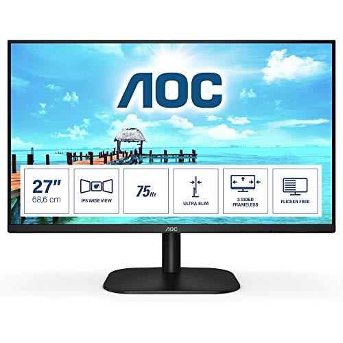 """AOC Monitor Italia 27B2H LED da 27"""" IPS, FHD, 1920x1080, 75Kz, VGA, HDMI, Nero"""