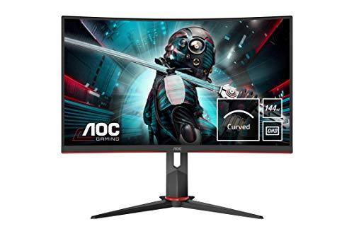 """AOC Monitor Italia CQ27G2U/BK Monitor Gaming Serie G2 Curvo da 27"""", WQHD 2560 x 1440 a 144 Hz, HDMI, DisplayPort, FreeSync, Tempo di Risposta 1 ms, Nero/Rosso"""