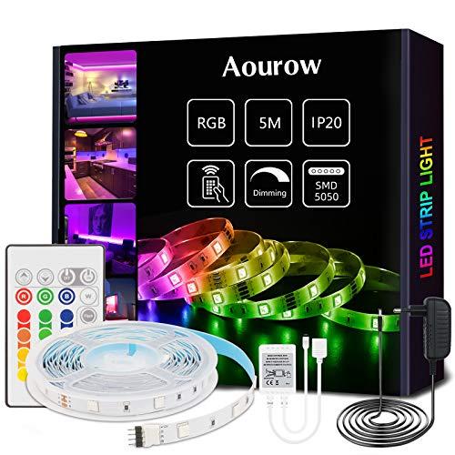 Aourow Striscia LED,Kit di Strisce LED 5m RGB con Telecomando IR a 24 Tasti e Alimentatore 12V,TV Retroilluminazione Luci Nastro 5050 Multicolore con Autoadesiva per Decorazione DIY,Non Impermeabile
