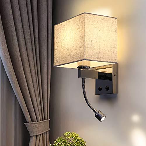 Applique da comodino ZMH, applique 1xE27 con interruttore, lampada da parete cromata lucida con luce di lettura a LED flessibile, 2 interruttori, ideale per camera da letto, soggiorno, hotel