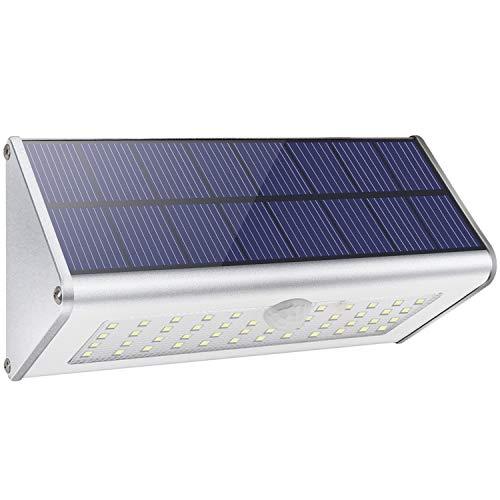 Applique da parete di sicurezza per esterni solari, Licwshi 1100lm 46 LED 4500mAh alluminio Lega di Sensore di movimento senza fili Luci notturne impermeabili per giardino, strada-Luce bianca calda
