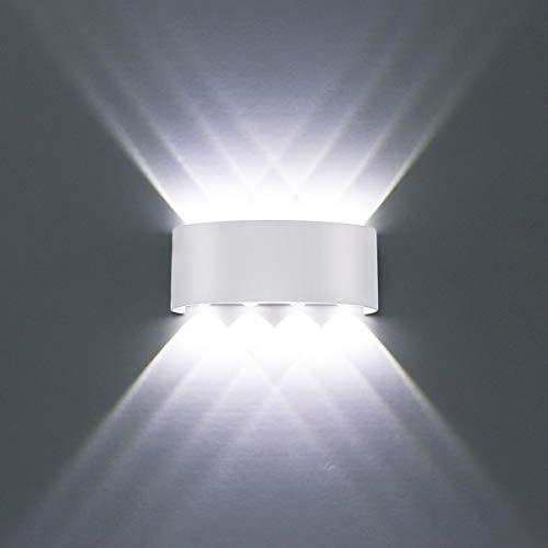 Applique da parete Interno Moderno, 8W Bianco Lampade da parete LED in Alluminio per interni esterno Perfetto per Camera da letto, Soggiorno, Corridoio, Scale, Percorso (Bianco Freddo)