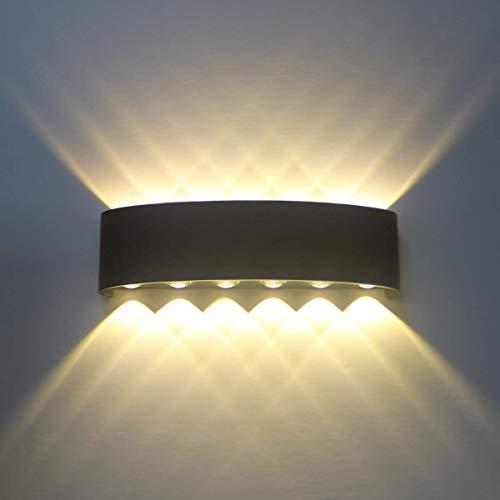 Applique da Parete Interno Moderno LED Nero 12W Lampada da Parete in Alluminio, Up Down Lampada da Muro, decorativa per Salotto Bagno Camera da letto Corridoio - Bianco Caldo