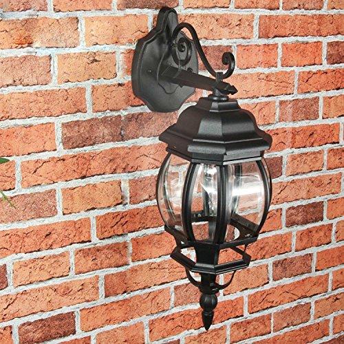"""Applique da parete per esterni rustico""""Brest"""" in nero a forma di lanterna da E27 a 60W IP43 applique da parete per esterno per giardino e giardino"""