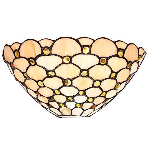 Applique da parete tradizionale in vetro ambrato Tiffany con perline circolari multiple:FBM