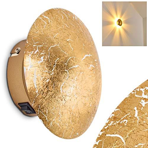 Applique Elegante Design Moderno- Lampada da Parete Color Oro Luce con Effetto Ottico sulla Parete- Lampada da Muro ideale per Soggiorno Camera da Letto e Corridoio