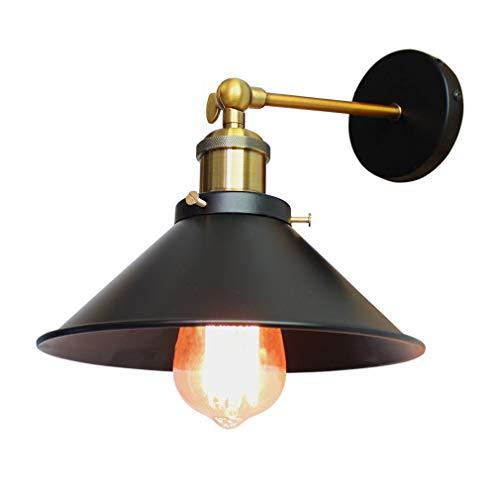 Applique Industriale Retrò, Lampada da parete con paralume in metallo nero ombrello, diametro 22cm (lampadina non inclusa)