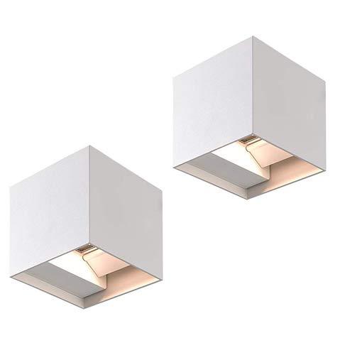 Applique LED Superia da 12W, Luce Calda 3000K, Lampada da Parete per Interno ed Esterno, in pressofusione di alluminio, Design Regolabile, Impermeabile IP54, Colore Bianco, 2 Pezzi