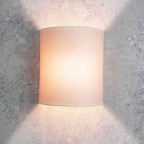 Applique loft in stile moderno / bianco / paralume in tessuto / 1x E27 max. 60W 230V / Lampada da parete per interni compatta / Illuminazione soggiorno camera da letto