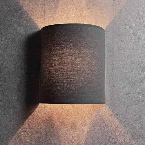 Applique loft / semicircolare / in stile moderno / grigio / paralume in tessuto / 1x E27 max. 60W 230V / Lampada da parete per interni compatta / Illuminazione soggiorno camera da letto