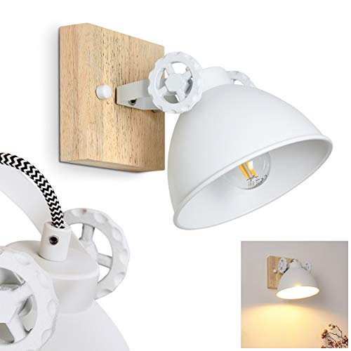Applique Svanfolk Lampada da parete in metallo e legno bianco naturale 1 luce con faretto regolabile, 1 x attacco E14, max 40 Watt, design retrò/vintage