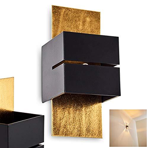 Applique Tora con scanalature, in metallo in nero/oro,1 luce, lampadina con attacco G9 max. 28 Watt, adatto per lampadine a LED. Effetto luce sulla parete Up & Down.