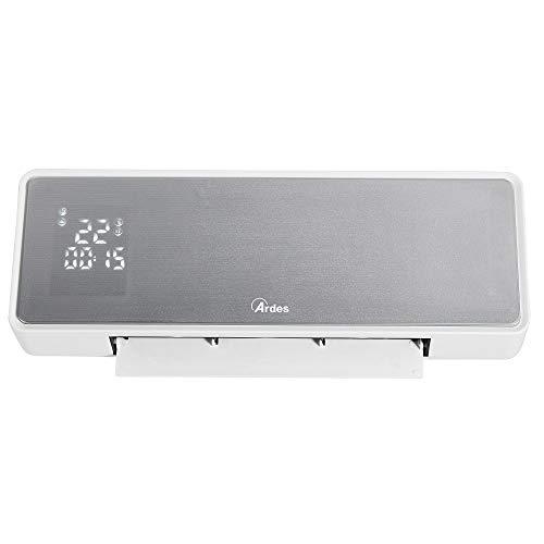 Ardes AR4W07P Screen Termoventilatore Ceramico da Parete, Display LED con Temperatura e Programmatore Settimanale, IP22, Timer 24 H, con Telecomando, Bianco