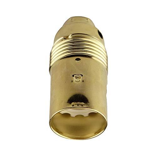 Arditi portalampade metallico ottonato in tre pezzi con attacco E14 e camicia liscia