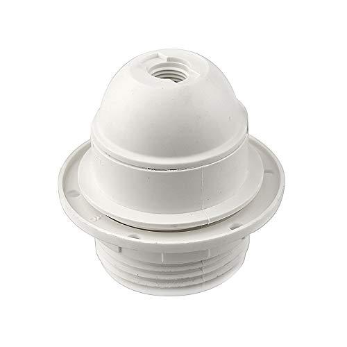 Arditi portalampade termoplastico bianco in tre pezzi con attacco E27, camicia parzialmente filettata e ghiera