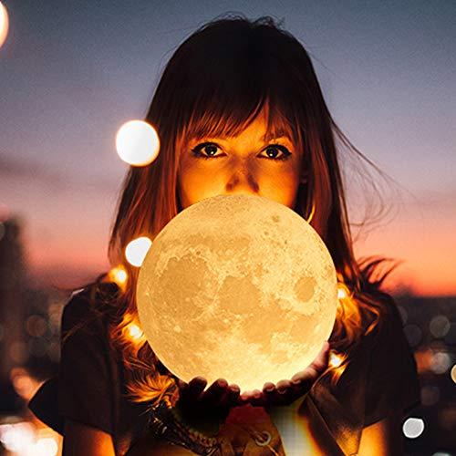 Arfbear 3D Lampada Luna Appeso, 16 Colori LED Luce Lunare Notturna con Telecomando & Controllo Tattile, Ricarica USB, Decorazioni per Camera da Letto 14cm