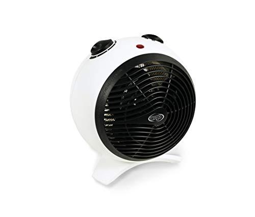ARGO KIRA ICE Termoventilatore con Resistenza a Filo, Bianco/Nero, due modalità di funzionamento: Eco e Comfort, 23.5 x 20 x 23.5 cm