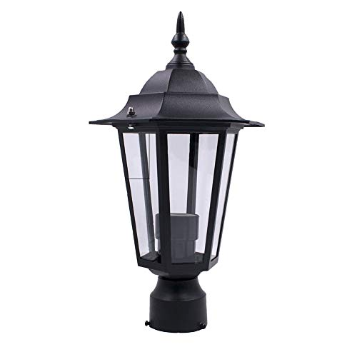 armine88 Lanterna da Giardino per Esterni, lampione da Giardino, Lampada da Parete a palo Alto E27 con esagono, Lampada da Esterno Impermeabile per Giardino, Cortile, terrazza