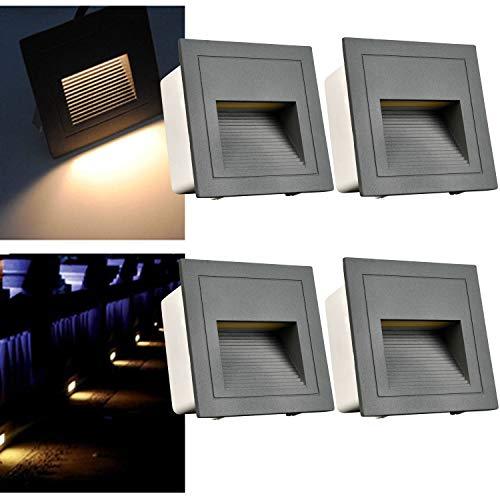 Arote 4Pcs Faretto da incasso per scale LED Bianco caldo IP65 LED 3W Faretto segnapassi Luce scale incasso scatola scale giardino viale gradini