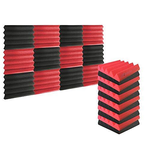 Arrowzoom 12 Pannelli Fonoassorbenti Wedge Cuneo Correzzione acustica Ritardante di Fiamma Isolamento Acustico 25x25x5cm Rosso & Nero