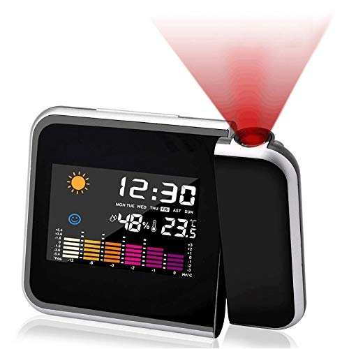 ASANMU Sveglia con Proiettore, Sveglia Digitale da Comodino, Sveglia Digitale LED con Stazione Tempo/LCD a Display/Temperatura e Data/12 e 24h/Funzione Snooze/Ricarica USB/Orologio da Comodino, Nero