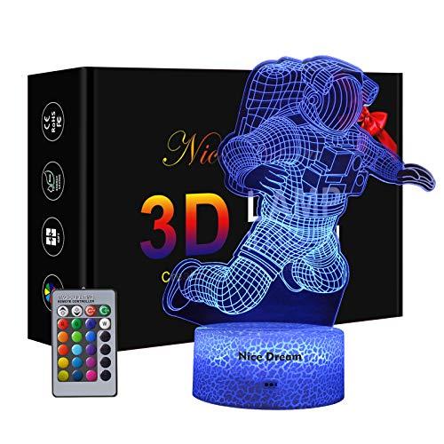Astronauta Lampade 3D Illusione Ottica Luce Notturna, Lampada Led Da Tavolo Illuminazione Luce Di Notte, 16 Colori Controllo Tattile Lampada Decorazione Da Comodino Con Cavo Usb