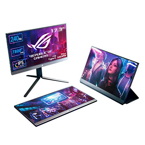 "ASUS ROG Strix XG17AHP Gaming Monitor Portatile USB-C 17.3""IPS FullHD, 1920x1080,240Hz,Adaptive-sync,USB-C, Micro-HDMI, Batteria Integrata, camera, console, ROG Tripod, ROG Bag, Smart cover, Eye care"