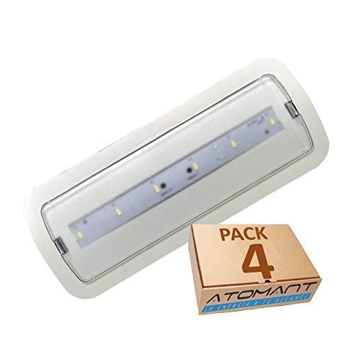 Atomant - Set di 4 luci di emergenza LED da incasso o superficie, batteria automatica ricaricabile, 3 ore di autonomia, 200 lumen certificati, 3 W, bianco freddo 6500 K, 270 x 110 x 50 mm, 4