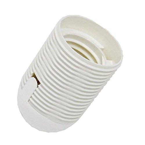 Attacco E27 in termoplastica con rivestimento filettato e tappo M10x1 in plastica bianco