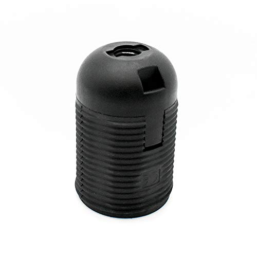 Attacco E27 nero termoplastica con rivestimento filettato e tappo a innesto, filettatura fine M10 x 1, in plastica.
