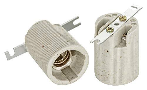 Attacco in ceramica E14 con staffa di fissaggio, filettatura Edison RoHS fino a 250 V e 4 A di ISOLATECH; (qui 20 pezzi)
