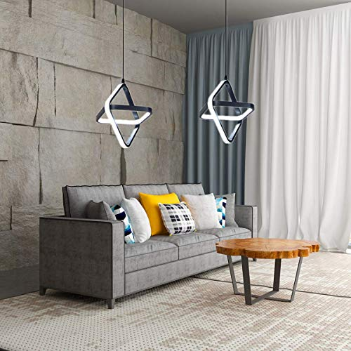 AUA Lampada a Sospensione LED, Lampada Lampadario Moderno Piazza 20W oscuramento Tricolore, per Camera da Letto e Soggiorno
