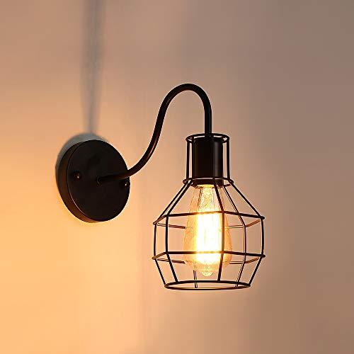 AUA Lampada da parete vintage industriale, applique metallo E27, applique da interni, nero gabbia, per caffè/bar, Home Decor