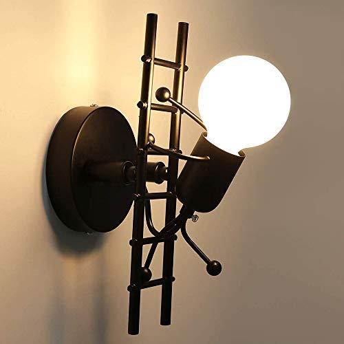 AUA Lampade da Parete Vintage, Applique da Parete Humanoid Creativo E27, Lampada a Muro in retrò Nero, per Camera da Letto, Soggiorno, Camera Bambini (B)