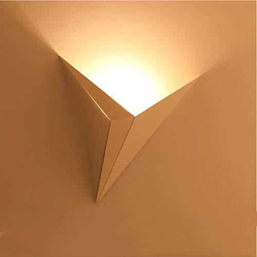 AUA LED Lampada da Parete Interno, Moderno Applique da Parete 3W Metallo Triangolo Luce Notturna per Corridoi, Camera da Letto, Scale (Luce Calda)