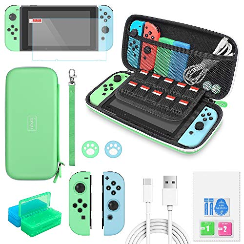 Auarte 12 in 1 Accessories for Nintendo Switch Animal Crossing, Crarrying Case, Screen Protector, JoyCon Silicone Case, Thumb Grip, Game Card Case and Type C Cable (verde)