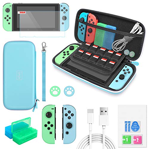 Auarte 12 in 1 Accessories for Nintendo Switch Animal Crossing, Crarrying Case, Screen Protector, JoyCon Silicone Case, Thumb Grip, Game Card Case and Type C Cable (blu)