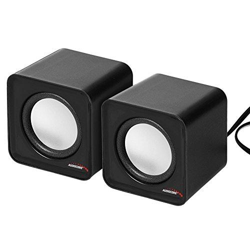 Audiocore Altoparlanti Computer PC USB 2.0 Potenza 2x3W Jack da 3,5 mm Mini Rosso e Nero (Nero)