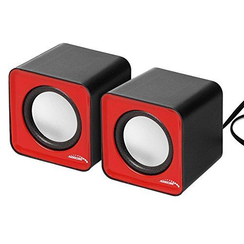 Audiocore Altoparlanti Computer PC USB 2.0 Potenza 2x3W Jack da 3,5 mm Mini Rosso e Nero (Rosso)