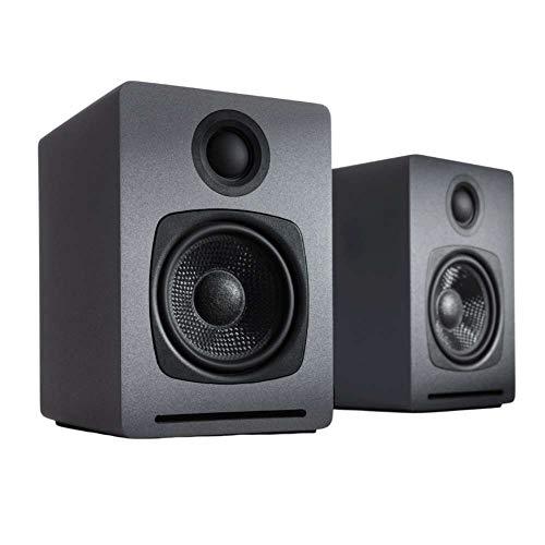 Audioengine A1 Sistema Audio Domestico | Casse Acustiche da Scaffale con Bluetooth aptX | Connessione Wireless o Via Cavo, Ingresso AUX per Computer, Giradischi, TV, Subwoofer (2 Casse, Grigie)