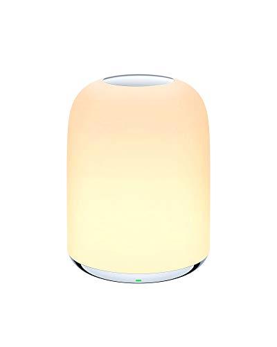 AUKEY Lampada da Comodino, Lampada da Tavolo, Luce Notturna con Batteria Ricaricabile per Camera da Letto, Luce Bianca Calda Dimmerabile da 3000K–6500K e Colori Cangianti RGB
