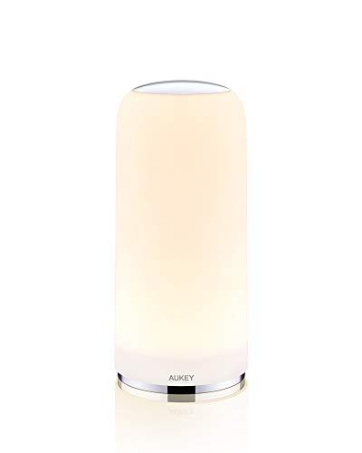 AUKEY Lampada da Comodino LED con Sensore Touch Lampada da Tavolo Luce Bianca Calda Dimmerabile e Funzione di Memoria Luminosa Lampada Notturna per Camere da Letto e Salotti