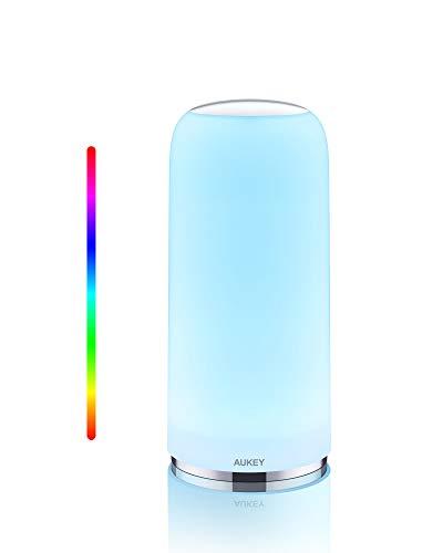 AUKEY Lampada da Tavolo RGB Lampada da Comodino Sensibile al Tocco con Funzionalità Timer Luce Bianca Calda Dimmerabile e Luce con Colori Cangianti, Luce Notturna con Funzione di Memoria