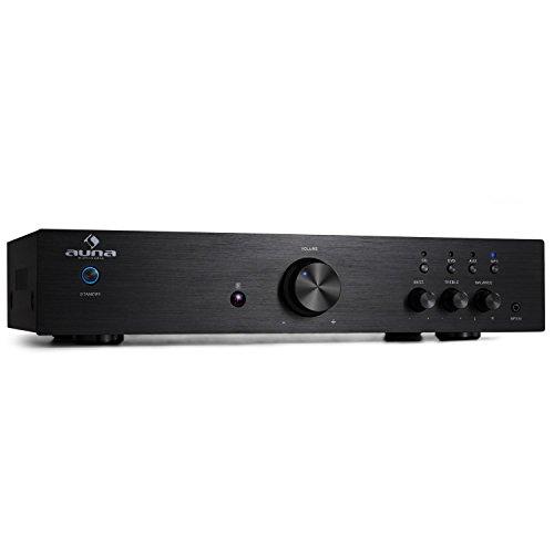 Auna Av2-Cd508 Amplificatore Hi-Fi finale di potenza (600 Watt Rms, Rca, Aux, equalizzatore a 2 bande, telecomando incluso) nero